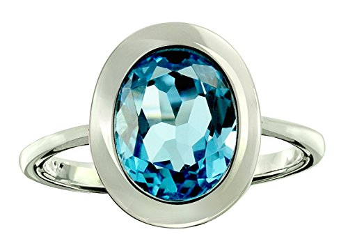 RB Gems Sterling Silver 925 Ring GENUINE GEMSTONE Oval 10x8 mm with Rhodium-Plated Finish, Bezel-Setting (5, swiss-blue-topaz)