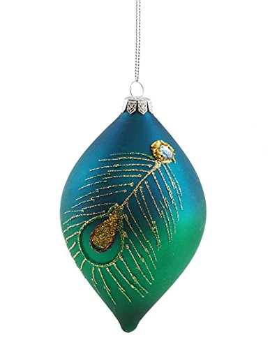 Seasons Designs Peacock Feather Tear Drop Hanging Christmas Ornament