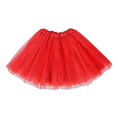 Adult Ballet Tutu Layered Clubwear Skirt Dance Party Dress (Red Adult Tutus)
