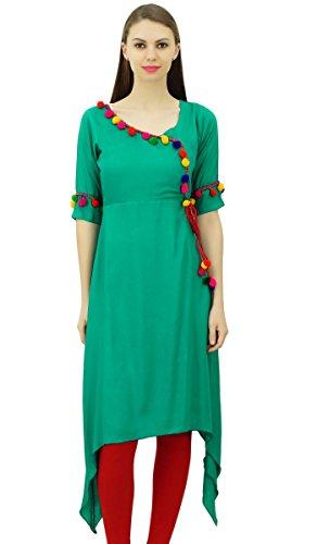 Phagun Angrakha Kurta Pom Sarcelle Pom Femmes Tunique Indian Designer Style Vert Rayon Vtements Kurti Top rr4xqUFw