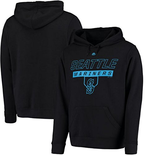 VF Seattle Mariners MLB Mens Majestic Ready and Able Pullover Fashion Hoodie Black Big & Tall Sizes ()
