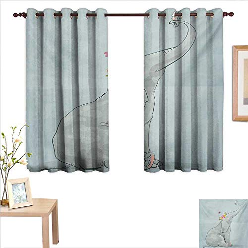 Superlucky Elephant Nursery Decorative Curtains for Living Room Elephant and Little Mouse Friendship Fun Art Hand Drawn Flowers Design 63
