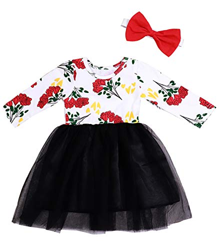 Little Girl Clothes Printed Long Sleeve Black Lace Tutu Dresses with Red Bow Headband Baby Clothes Outfits 18-24Months