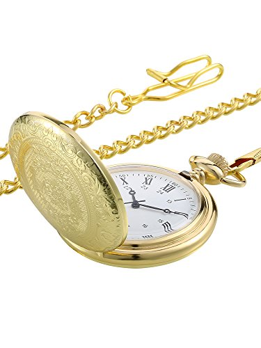 Pangda Vintage Pocket Watch Gold Steel Men Watch with Chain for Fathers Day Gift Chain Set Pocket Watch