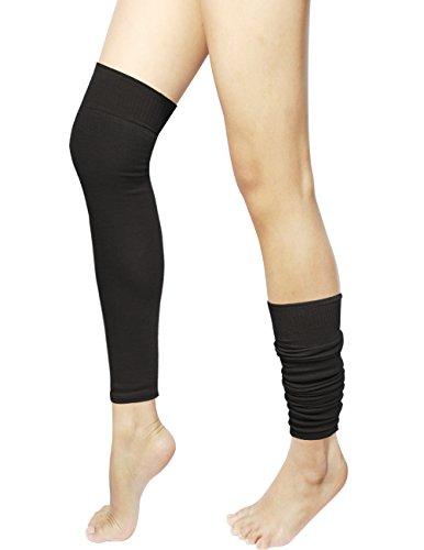 Dahlia Women's Solid Color Wool Blend Leg Warmers - Black (Blend Color Wool)