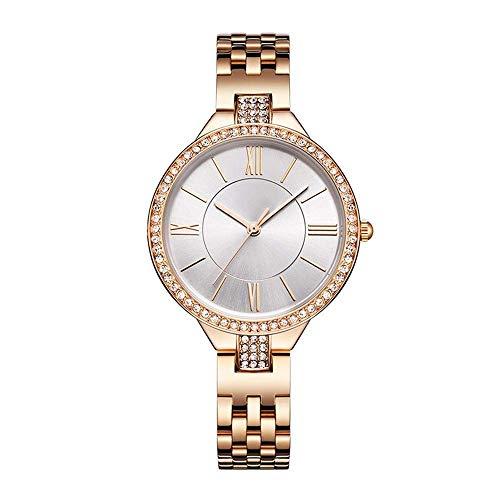 BEWITCHYU Practical Wristwatches Women 's Simple Diamond Ultra-Thin 8Mm Quartz Watch 35Mm Solid Steel Belt Casual Fashion Waterproof Decorative Watch BraceletWhite
