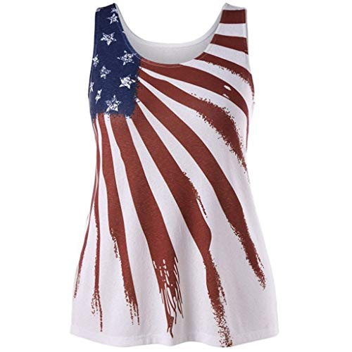 Waffle Knit Striped Hoodie - VEZAD Womens Sleeveless Striped Star American Flag Print Back Ripped Tank Top