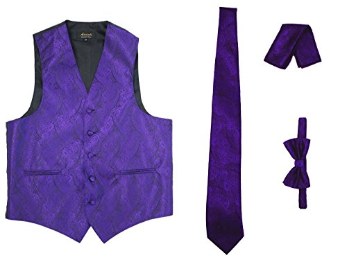 Amanti - Men's 4pc Set Paisley Tuxedo Vest Vest / Tie / Hanky / Bow Tie (X-Large (Chest:43