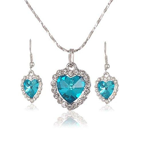 Mayfun Heart Shaped faux Diamond Pendant Dangle Earring and Necklace Jewelry Set for Women Girls (Sea Blue) (Blue Necklace Earring)