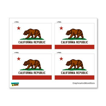 CA California Republic Flag - Set of 4 - Window Bumper Locker - California Flag Sticker