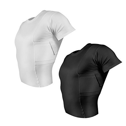 ConcealmentClothes Men's Crew Neck Undercover- Concealed Carry Holster Shirt- 2 Pack- Black and White - XX-Large