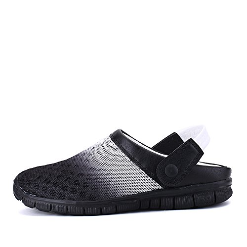 Bwiv Beach Slippers for Men and Women Mesh Water Clogs with Strap Casual Beach Shoes in UK Sizes 4-10 Black and White uW3M7p5v