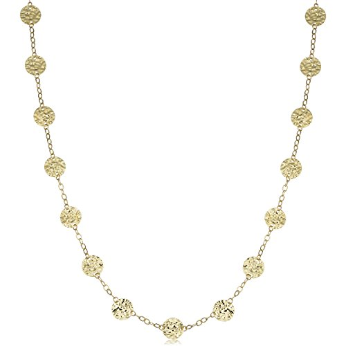 Kooljewelry 14k Yellow Gold Hammered Disc Station Necklace (20 or 36 inch)
