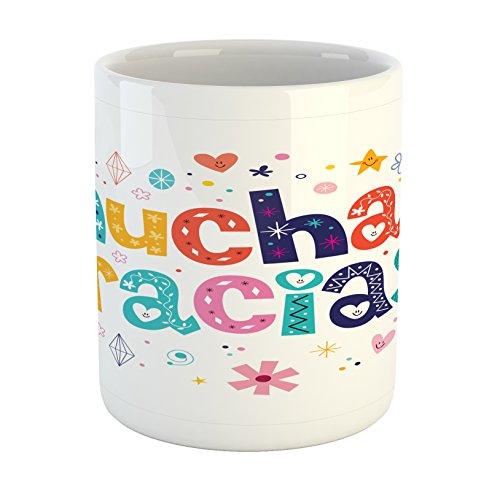 Ambesonne Mexican Mug, Spanish Thank You Words with Cartoon Style Hearts Diamonds Flowers Artwork, Ceramic Coffee Mug Cup for Water Tea Drinks, 11 oz, Cream Blue