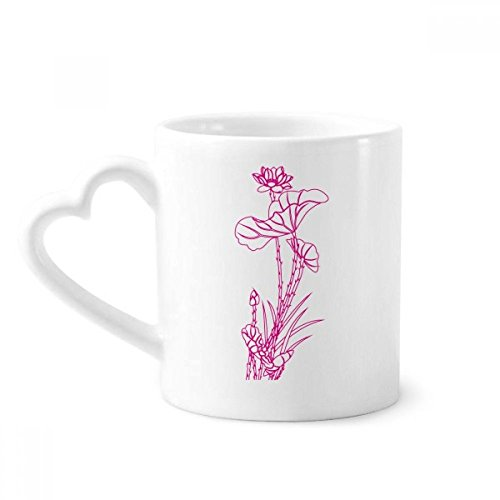 Lotus Leaf Lotus Flower Reed Flower Plant Coffee Mugs Pottery Ceramic Cup With Heart Handle 12oz Gift