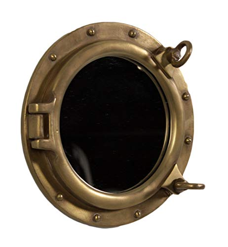 - Nautical Tropical Imports Porthole Mirror 12 Inch Diameter Antique Brass Finish Wall Mount