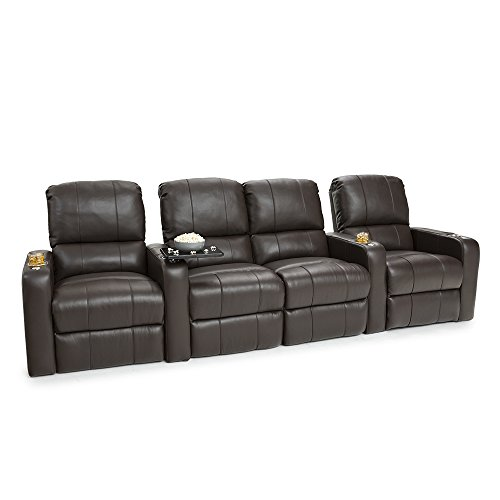 Seatcraft Millenia Home Theater Seating Power Recline Leather (Row of 4 Loveseat, Brown)