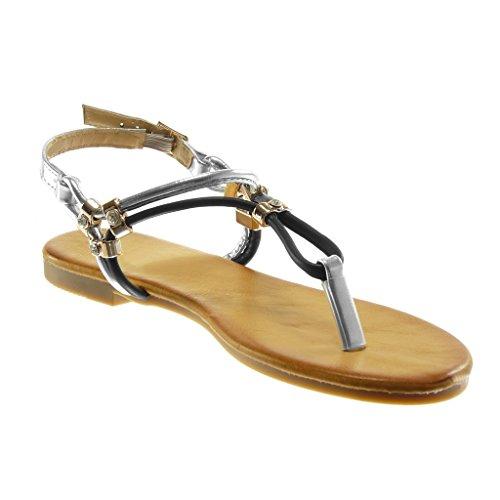 Angkorly Damen Schuhe Sandalen Flip-Flops - T-Spange - Metallischen - Strass - Golden - String Tanga Blockabsatz 1.5 cm Schwarz