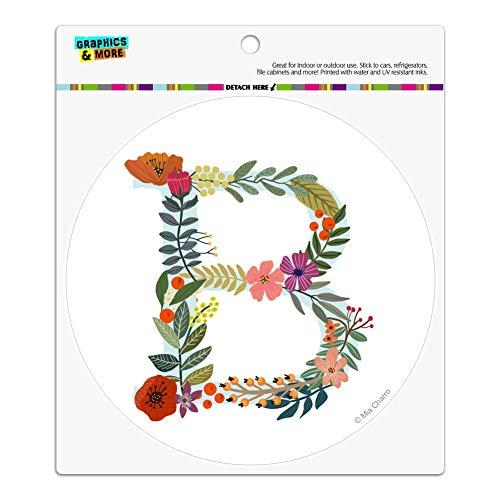 Graphics and More Letter B Floral Monogram Initial Automotive Car Refrigerator Locker Vinyl Circle ()