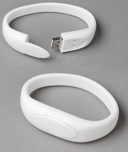 - White Wristband USB Flash Memory Drive 16GB