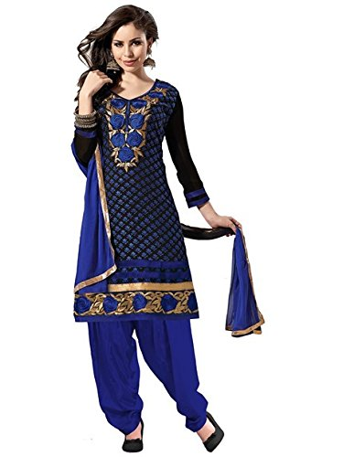 Vibes Women's Gorgette Salwar Suit Dress Material – Free Size, Blue