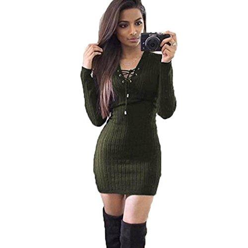 Koly Mujer manga larga de invierno vestido BodyCon suéter de punto ejercito verde