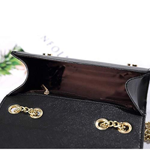 Mode Chaîne Noir Fourre Femme Sacs tout Pochette Cuir À Bag Femmes noir Bandoulière Pompon Mini Enveloppe Marque En 2018 Main Sac Nouveau Pour Dame Été Pu Internationale Däme zUpHp
