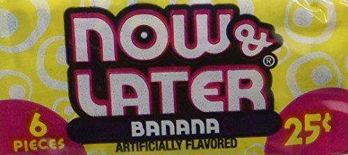 Now and Later Banana Flavored Candy  6 piece bars ( pack of 24 )