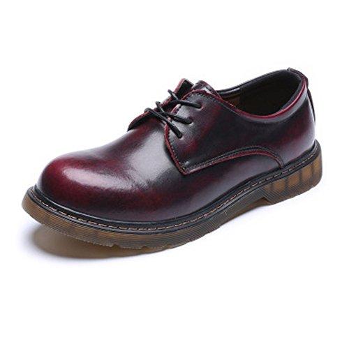 Extérieure 44 À Lisse Cuir Véritable Pour Marron Confortables Jujianfu Taille Homme Rouge color Eu Semelle En chaussures Bottine pCZztXwq