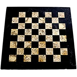"RADICALn 16"" Marble Chess Board - Available in Different Colors - Only Chess Board without figures (Black & Coral)"