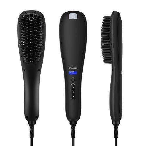 (Ionic Hair Straightener Brush, Baililai Ceramic Heating Plate Hair Straightening Brush, Anti- Scald, Scratch-Resistant, Auto Shut Off, Anion Spray Styling Straightening Brush (Matte))