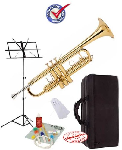 Student Gold Bb Trumpet School Package with Case Music Stand and Cleaning Kit GOLDTRUM-PACK