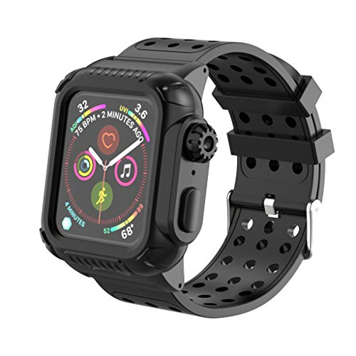 Steel Cut Out Lizard - Kecar Replacement Watch Strap, Silicone Watch Band + Protective Replacement Wristband Case for Apple Watch Series 4 40 mm