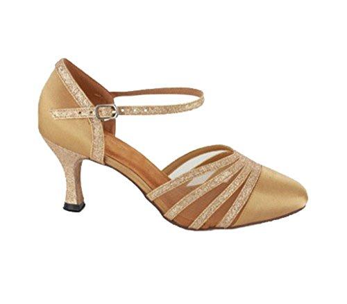 Tda Femmes Talon Mi-clos Fermé Toe Maille Glitter Satin Chaussures De Danse Latine Chaussures De Mariage Or-7.5cm Talon