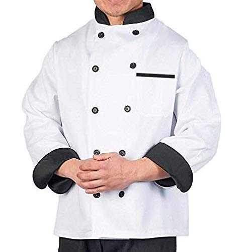 Aurum Creations Men's And Women's White Chef Coat Black Contrast (Medium(38))