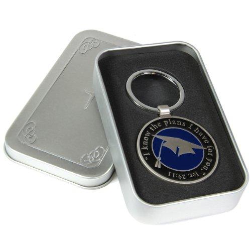 Graduation Cap Keychain-Stainless Steel w/Jeremiah 29:11 Bible Verse- Christian Art Graduation Key Ring in Cross Embossed Tin Gift