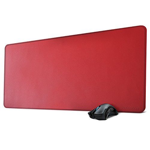 Zoresyn Large Artificial Leather Mouse Pad Desk Mat Big Keyboard Mats Extended Mousepad 35.4''x15.7'' Desk Blotter with Stitching and Rounded Corners for Office,Household,Gaming (Red) by Zoresyn