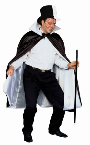 Forum Reversible Phantom Costume Cape 56-Inches, Black/White, One Size