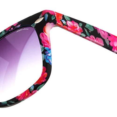 Sunglasses Femme soleil Lunette unique Noir Lotus fleurs de taille 4Adq1ccnv