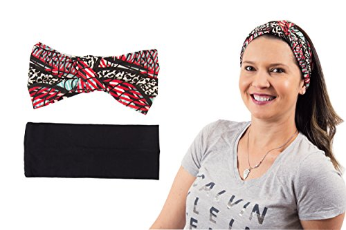 Laibella Women's Super Comfortable and Stretchy 2-Pack Headbands for Yoga, Fashion, Workout, Travel - 2 Styles (Black & Plaid) (Charlie Womens Hat Adjustable)