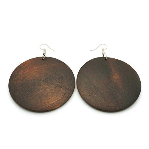 d Circle Rasta Wood Boho Simple Fashion Style Dangle Earrings (Dark Brown) ()