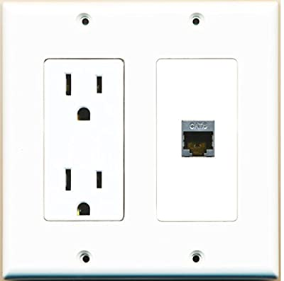 RiteAV - 15 Amp Power Outlet and 1 Port Shielded Cat6 Ethernet Decora Type Wall Plate