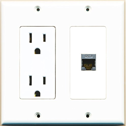 RiteAV - 15 Amp Power Outlet and 1 Port Shielded Cat6 Ethernet Decora Type Wall Plate White