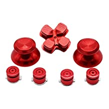 XFUNY(TM) Metal Bullet Buttons ABXY Buttons + Thumbsticks Thumb Grip and Chrome D-pad for Sony PS4 DualShock 4 Controller Mod Kit - Red