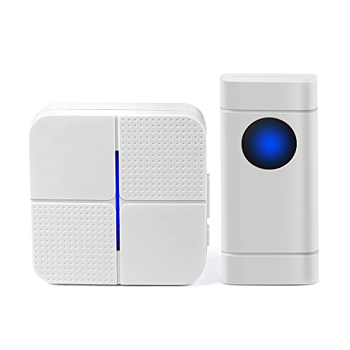 Fymore Wireless Doorbell Waterproof Door Bell Kit, 52 Chimes with 600 Feet Operating, 4 Level Volume, 1 Receiver & 1 Push Button with Sound and LED Flash (White) by FYMORE