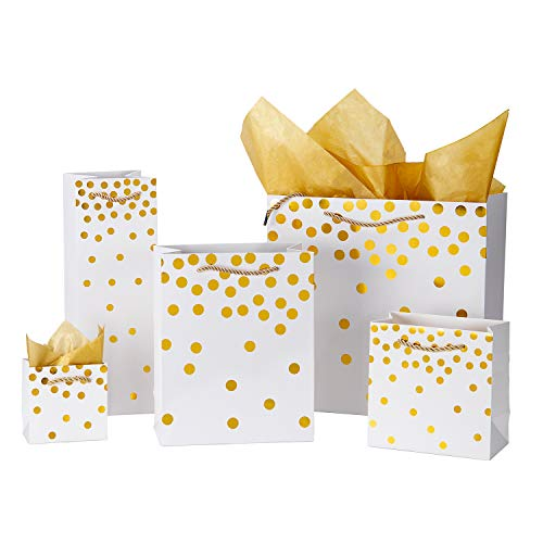 (Loveinside Dots Foil Gift Bags -Gold Foil White Paper Gift Bag with Tissue Paper for Wedding,Birthday Present-10Pack - Multi Size )