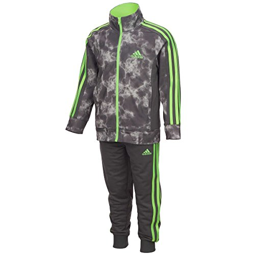 adidas Boys' Tricot Jacket and Pant Set (2T, Cosmic Grey) -