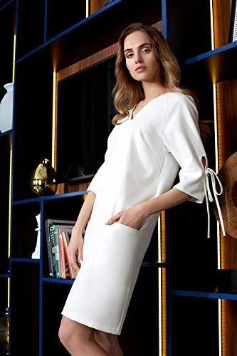 Ecru den Ärmeln Kleid an Clea Schleife und mit Taschen 4wxqFF8v6