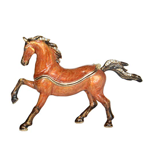 Jiaheyou Arabian Horse Enameled Pewter Jeweled Trinket Box Keepsake Box Pill Box Horse Figurine Gifts