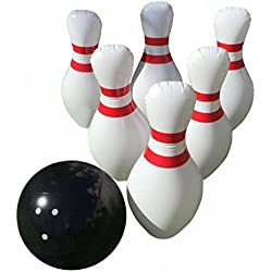 "Giant Inflatable Bowling Game Set - Indoor Outdoor - Jumbo size - 24"" Pins and 18"" Ball - A Great Party Game. Oversized Fun for Kids of All Ages. BONUS: Free Bowling Score Sheets PDF"